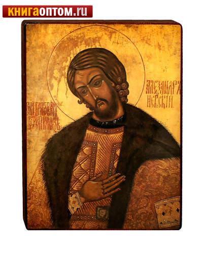Икона св. блгв. князь Александр Невский на деревянной основе