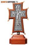 Крест гальванический на подставке Византийский, малый. Натуральный жемчуг, посеребрение