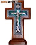 Крест гальванический на подставке. Дерево, посеребрение, эмаль
