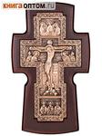 Крест гальванический настенный из ольхи и меди