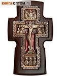 Крест гальванический настенный из ольхи и меди, с ювелирной эмалью