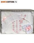 Крестильный набор для девочки от 0 до 6 месяцев (рубашка, чепчик, полотенце, носочки, пеленка). Состав 100% хлопок
