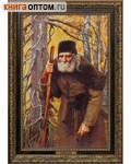 Преподобный Серафим. Репродукция на холсте. Багет. Размер изображения 390*250 мм