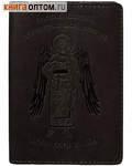 Обложка для паспорта Ангел-хранитель. Цвет черный, слепое тиснение на коже Псалом 90