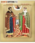 Икона аналойная св.блгв. Петр и Феврония. Дерево, ручное золочение (поталь), с ковчегом