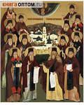 Икона аналойная малая Собор оптинских старцев. Дерево, ручное золочение (поталь)