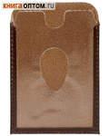 Обложка для социальной, транспортной, кредитной карты с тиснением молитвы кресту, цвет темно-коричневый. Натуральная кожа