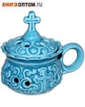 Кадильница настольная керамическая голубая