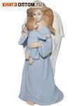 Ангел с младенцем керамический в глазури (голубой)