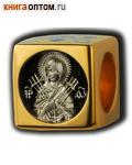 Бусина Пресвятая Богородица Семистрельная, серебро с чернью, позолотой 5 мкр. Au 999, эмаль