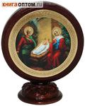 Икона Рождество Христово круглая на подставке (скотч)
