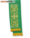 Закладка для Евангелия. Зеленый полиэстер с золотой вышивкой. Разм. изделия 10см х 130см