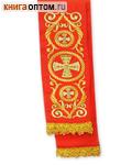 Закладка для Евангелия. Красный полиэстер с золотой вышивкой. Разм. изделия 7,5см х 120см