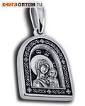 Икона двухсторонняя Пресвятая Богородица Казанская, серебро с чернью