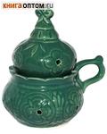 Кадильница настольная, цвет зеленый, керамика