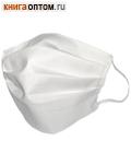 Маска защитная тканевая многоразовая, 100% хлопок, белая (с резинками)