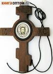 Икона автомобильная крест восьмиконечный Спас Нерукотворный. Дерево, обсидиан