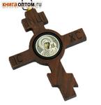 Икона автомобильная крест восьмиконечный Божией Матери Казанская. Дерево, обсидиан